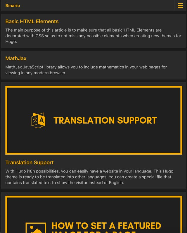 Binario Documentation theme <p>Very complete theme for code and card-based documentation. It is fully equiped with opengraph, schema and twitter cards.</p> <p>It has colour themes so you can easily change it. the theme is well-documented and flexible.</p>